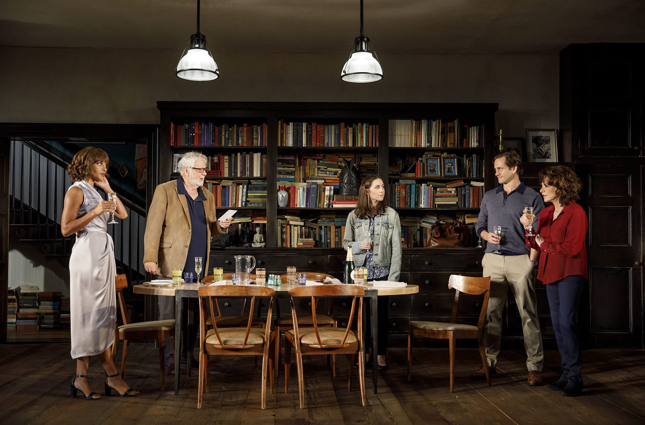 Megalyn Echikunwoke, John Tillinger, Talene Monahon, Hugh Dancy, and Stockard Channing in <i>Apologia</i> (Photo: Joan Marcus)