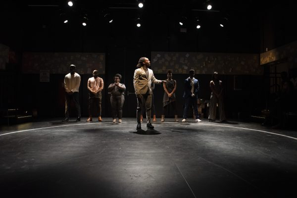 Kambi Gathesha and the Cast of WHAT TO SEND UP WHEN IT GOES DOWN. Photo by Ahron R. Foster