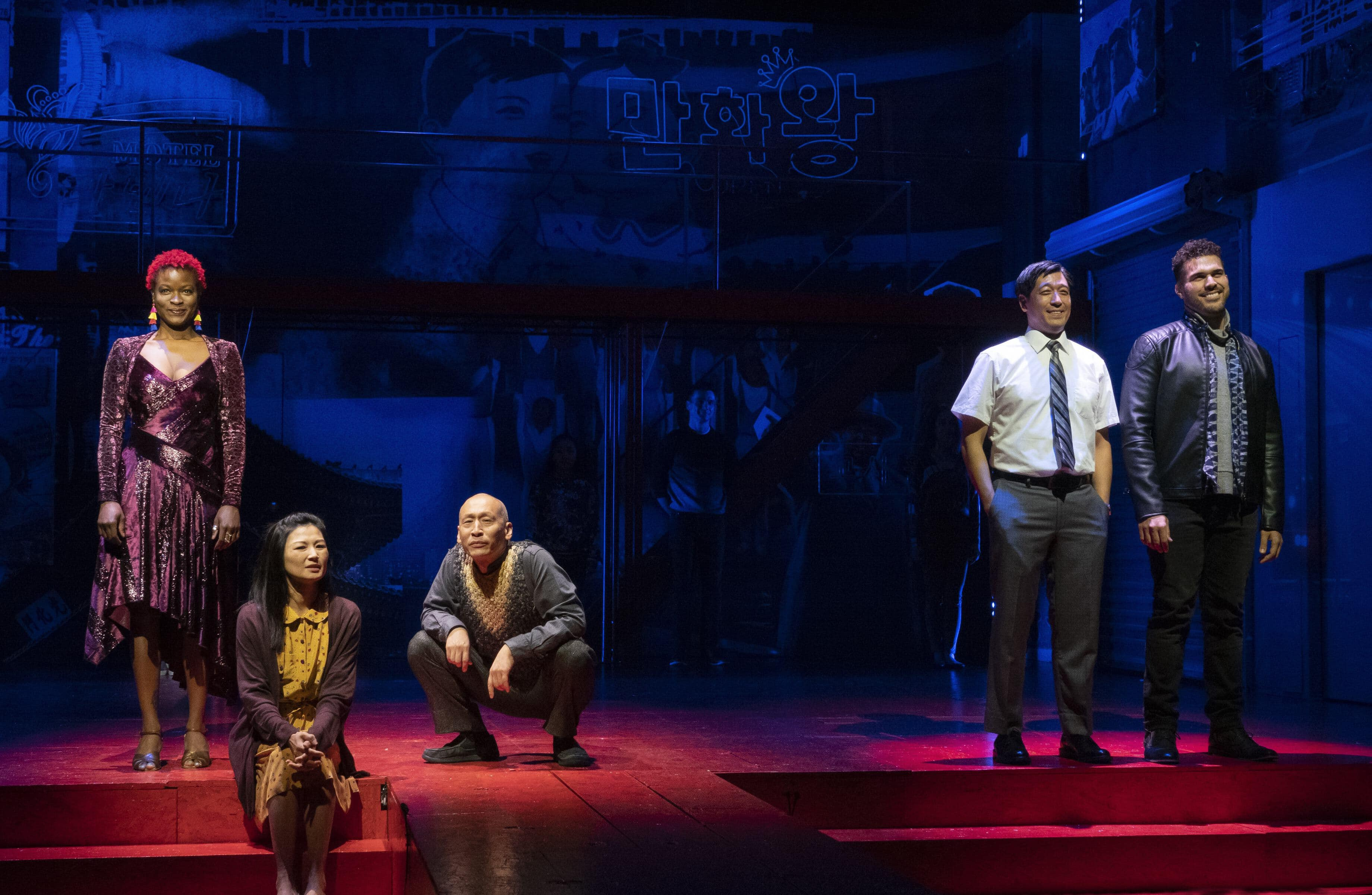 Lulu Fall, Michelle Krusiec, Francis Jue, Peter Kim, and Joél Pérez in the New York premiere of <i>Wild Goose Dreams,</i> written by Hansol Jung and directed by Leigh Silverman, running at The Public Theater. Photo: Joan Marcus.