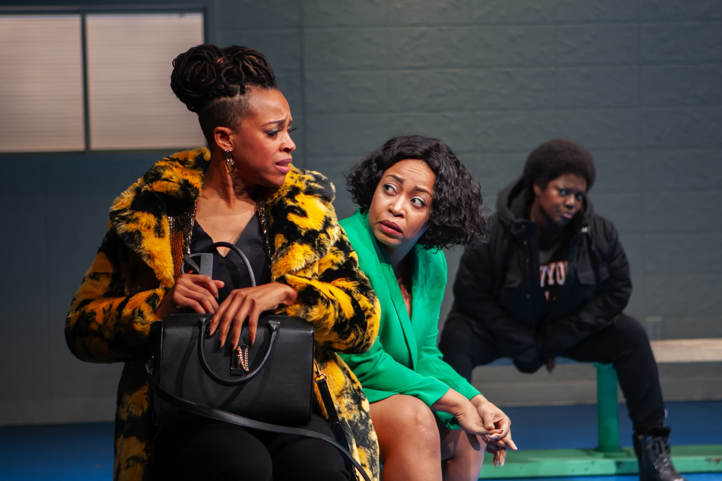Cherise Boothe, Nikiya Mathis, and Heather Alicia Simms in Fabulation, or The Re-Education of Undine by Lynn Nottage and directed by Lileana Blain-Cruz. (Photo: Monique Carboni)