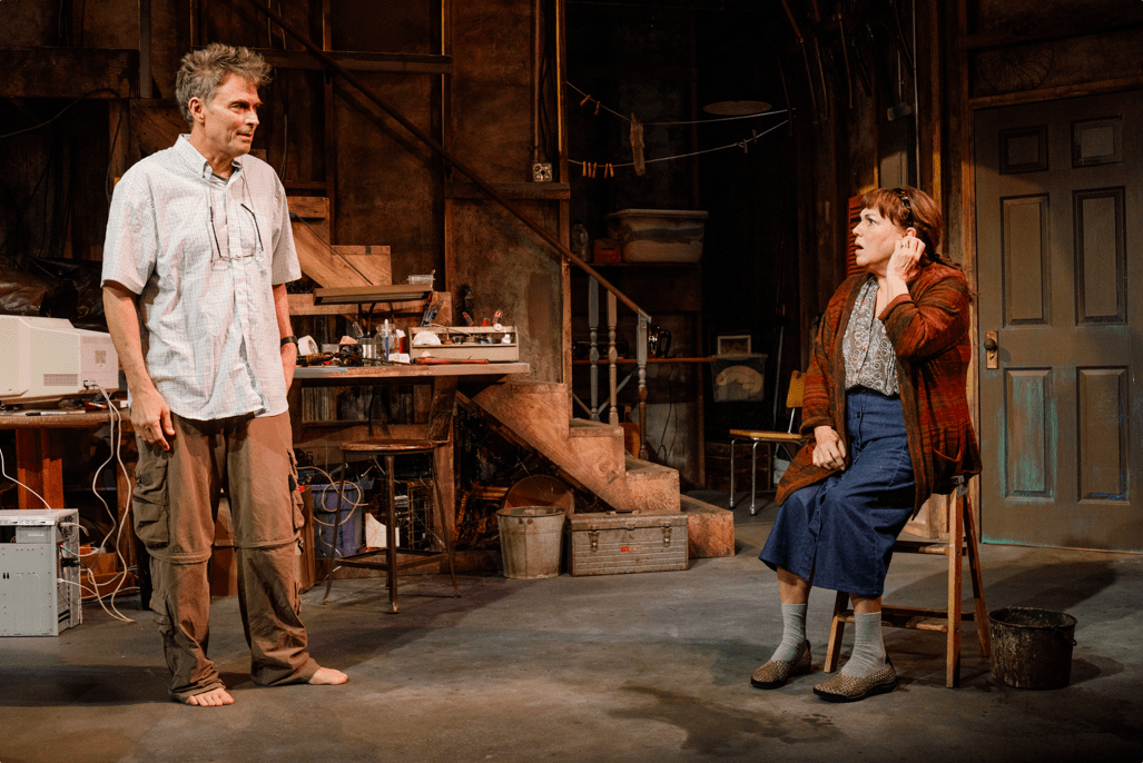 """""""Downstairs"""" at the Cherry Lane Theatre (Photo: James Leynse)"""
