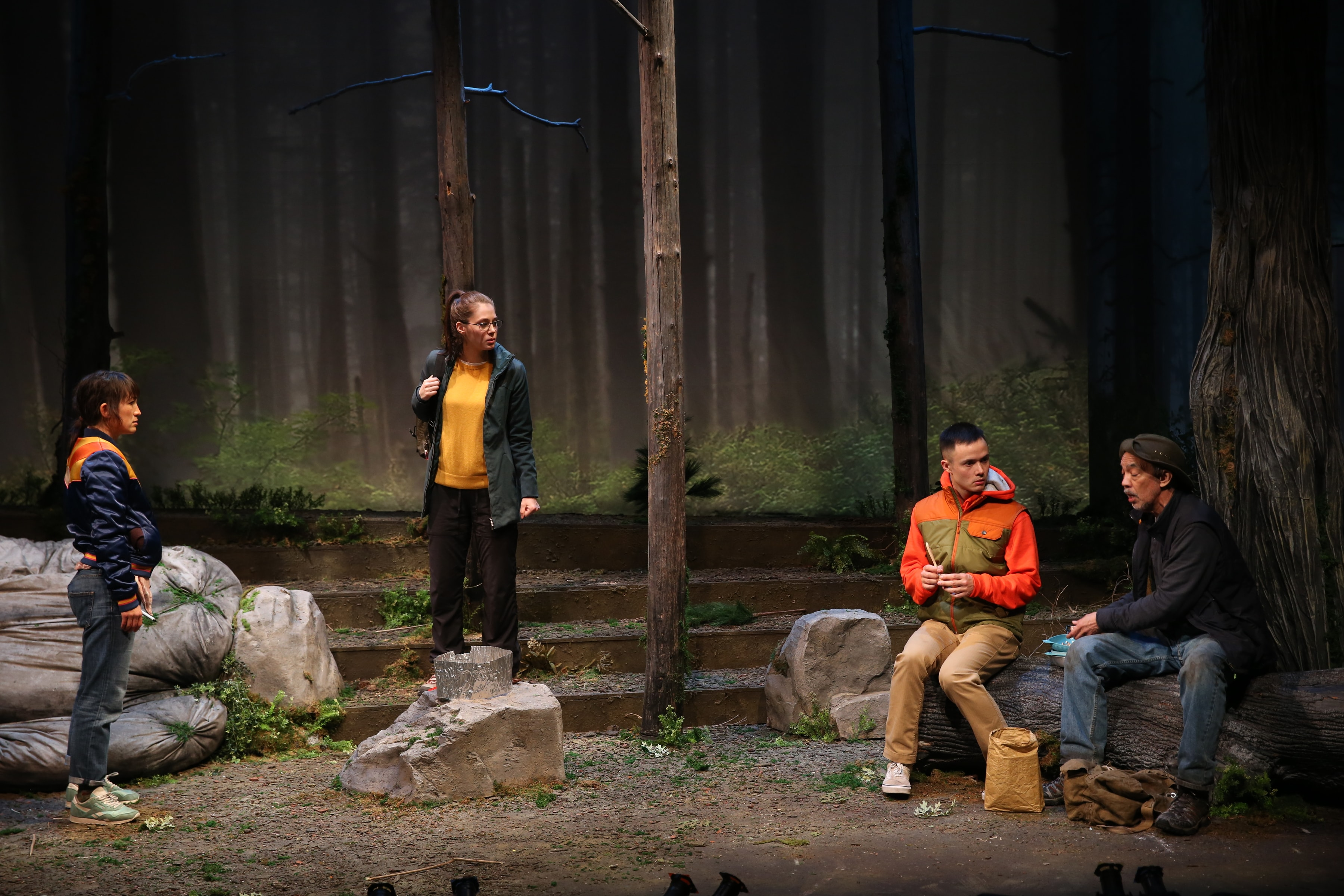 Kimiya Corwin, Emma Kikue, Jeffrey Omura, and Thom Sesma in <i>Fruiting Bodies</i>. (Photo: Carol Rosegg)