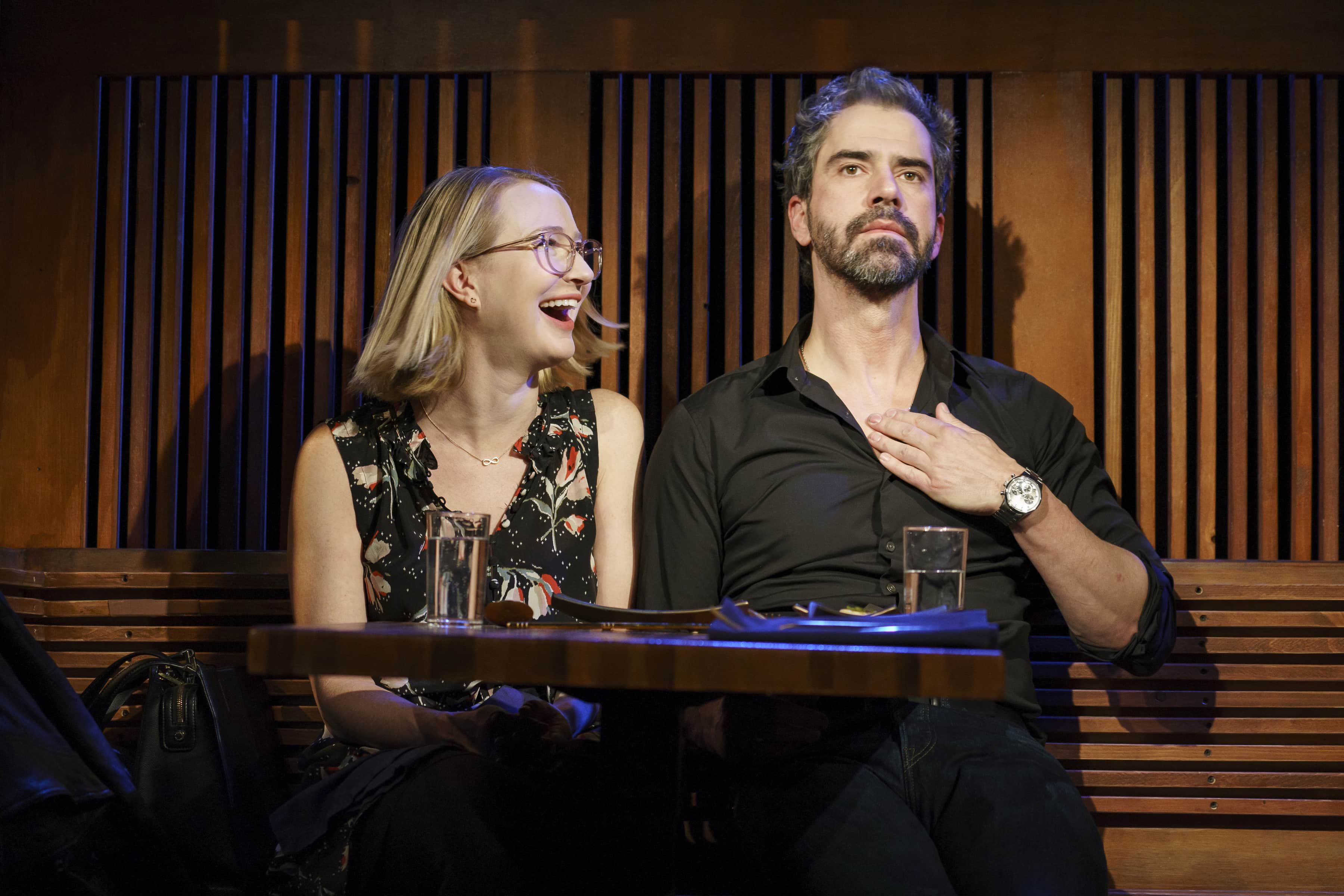 Halley Feiffer and Hamish Linklater in <i>The Pain of My Belligerence</i>. (Photo: Joan Marcus)