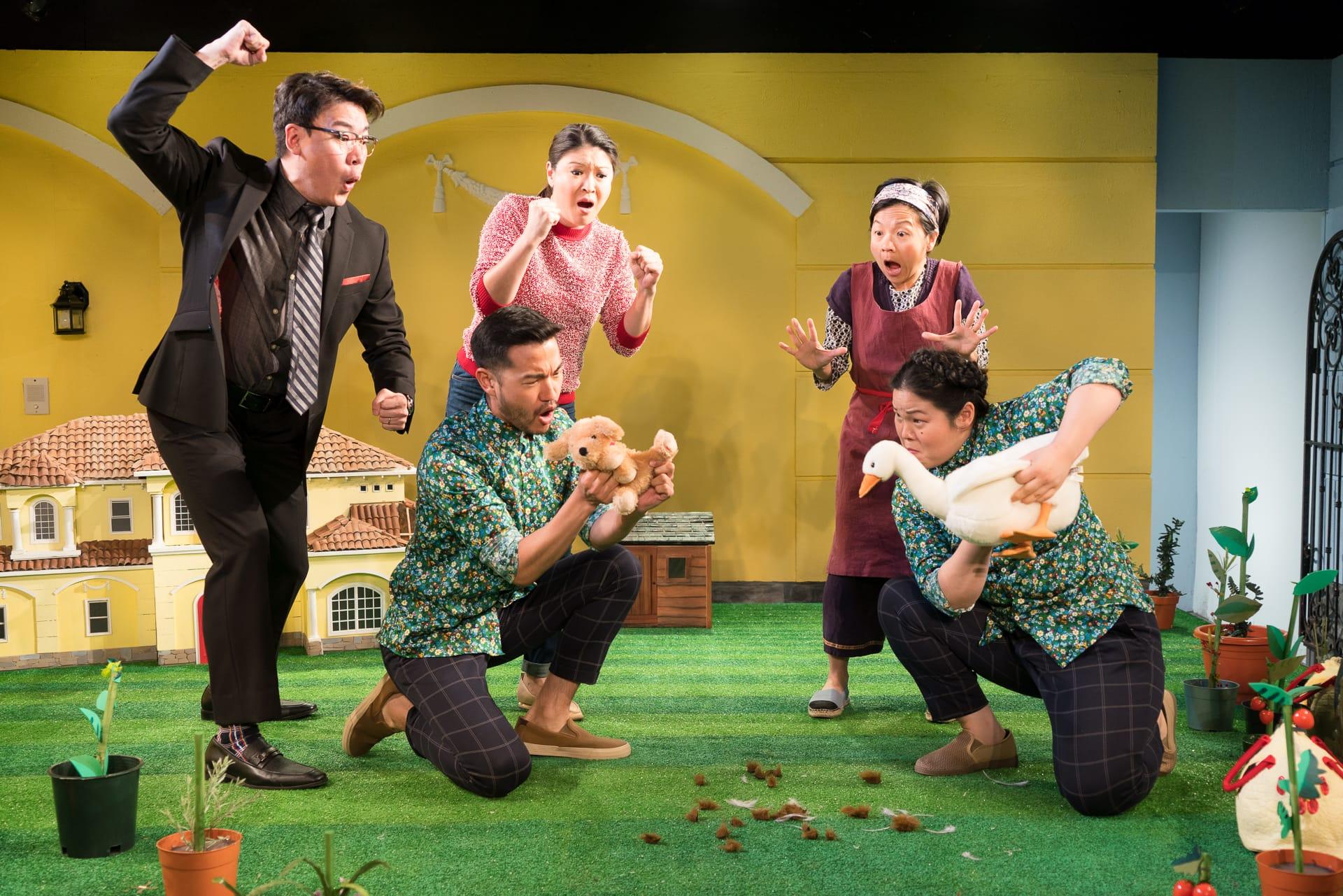 Kenneth Lee, Daniel K. Isaac, Jennifer Lim, Julyana Soelistyo, Holly Chou, dog, and goose (Photo: Elke Young)