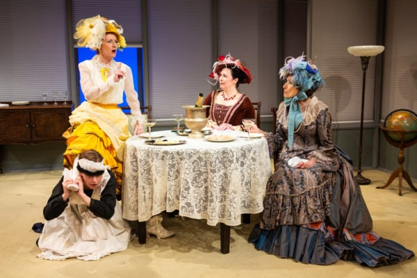 Megan Tusing, Dawn McGee, Patricia Randell, and Delphi Harrington in Julia Specht's i believe in a republic in which money has a great deal to say. - Photo by Jeremy Daniel