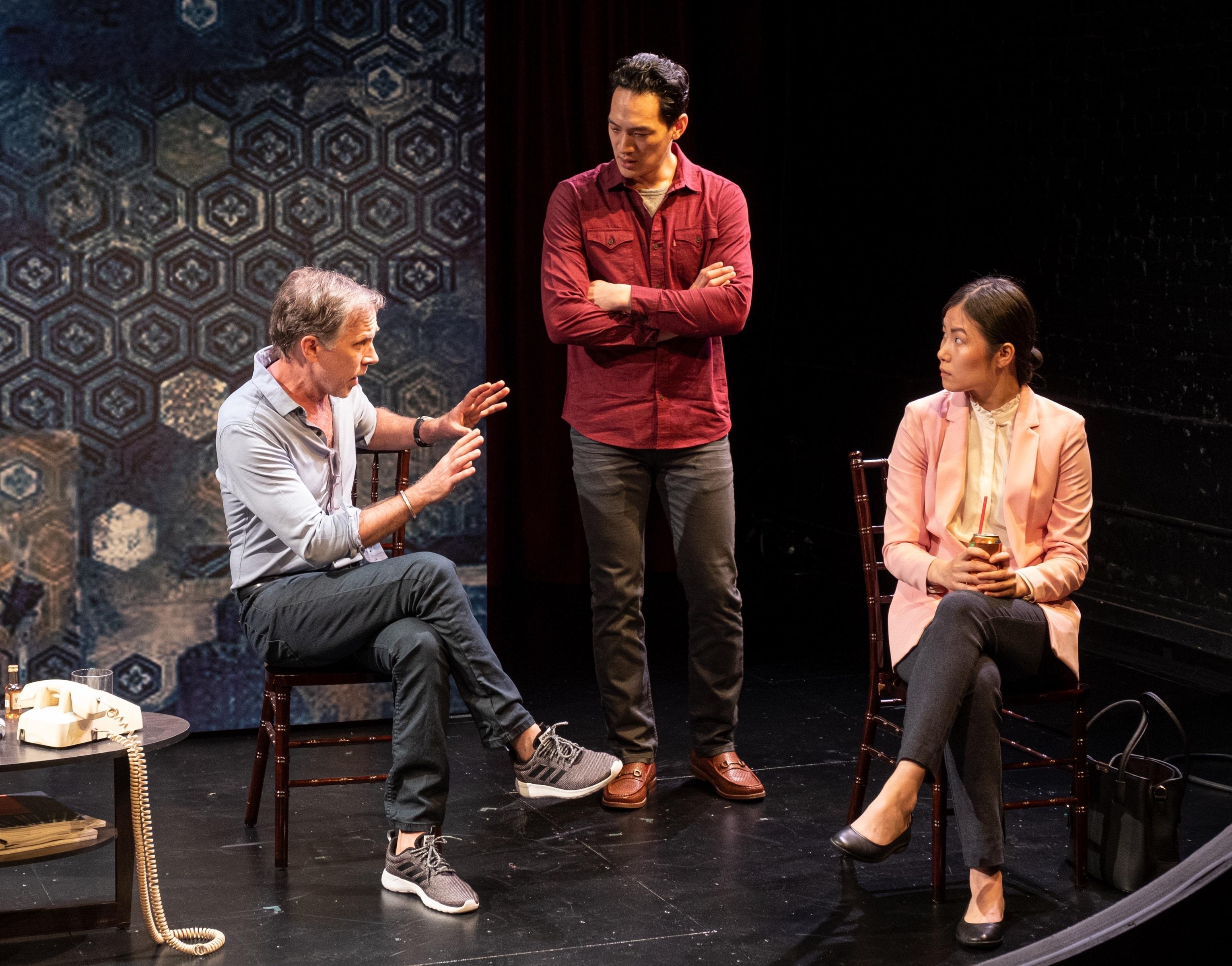 Bruce McKenzie, Edward Chin-Lyn, and Karoline Xu in <i>Veil Widow Conspiracy</i> (Photo: William P. Steele)
