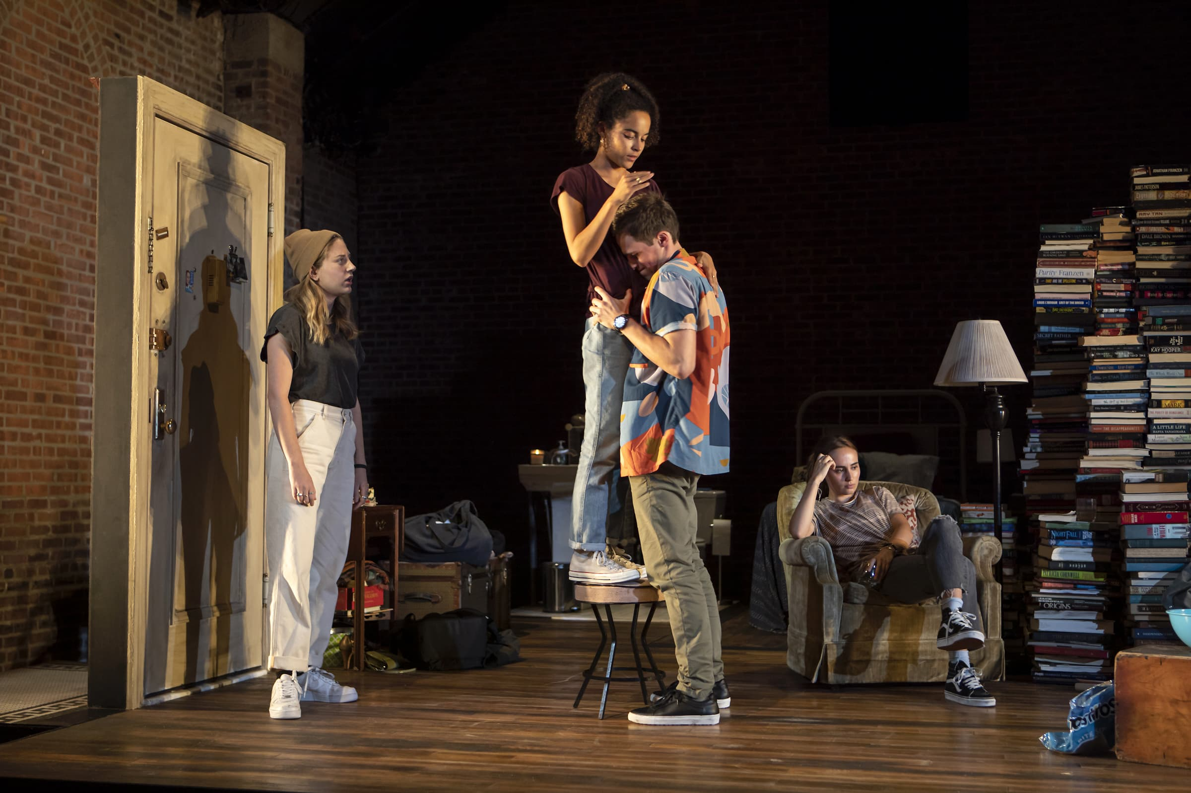 From left to right: Ruby Frankel (Alice), Juliana Canfield (Gil), Zane Pais (Milo), and Sadie Scott (Marie) in Sunday. Photo: Monique Carboni