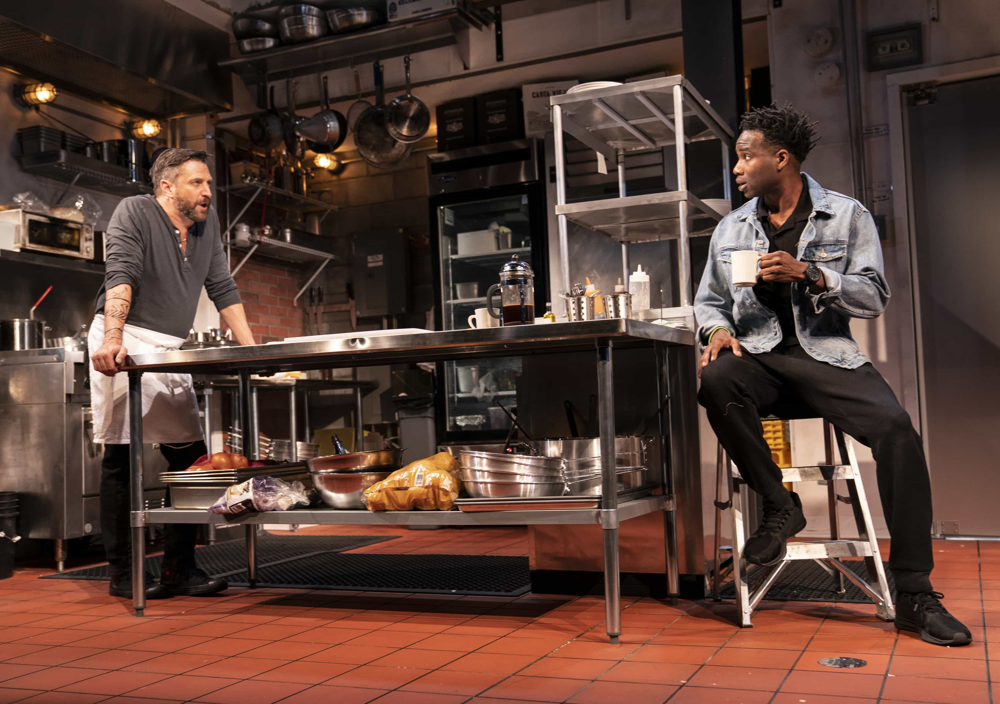 Raúl Esparza and W. Tré Davis in a scene from MCC Theater's Seared Photo: Joan Marcus