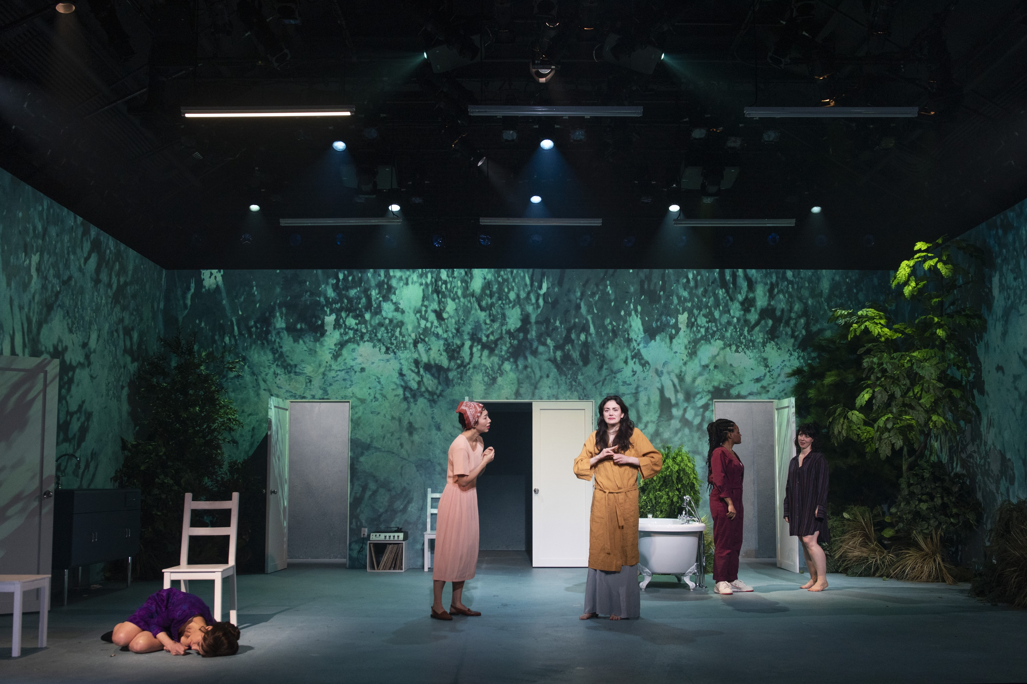 Carla Gugino (Carol), Jo Mei (Lola), Celeste Arias (Anna), Gabby Beans (Bonnie), and Miriam Silverman (Esther) in <i>Anatomy of a Suicide</i>. Photo: Ahron R. Foster