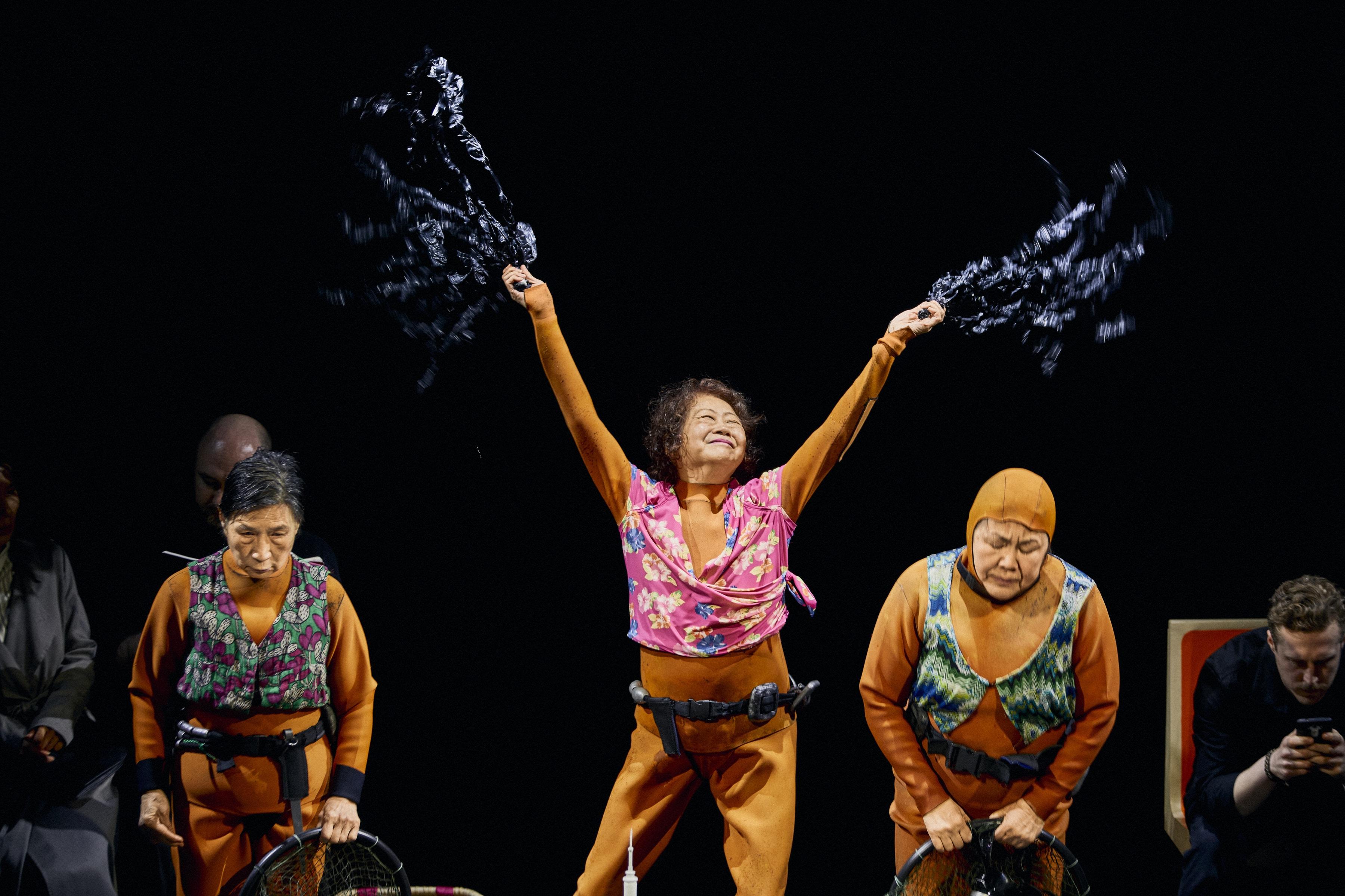 Wai Ching Ho, Jo Yang, and Emily Kuroda in <i>Endlings</i> at New York Theatre Workshop. Photo: Chad Batka