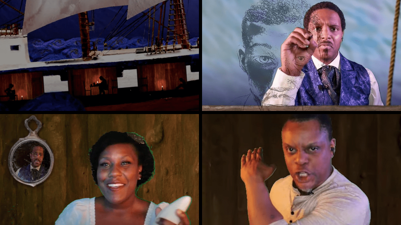 Clockwise from top left: set by Lina Younes; Jared McNeill; Kevin Mambo; Crystal Lucas-Perry with Jared McNeill